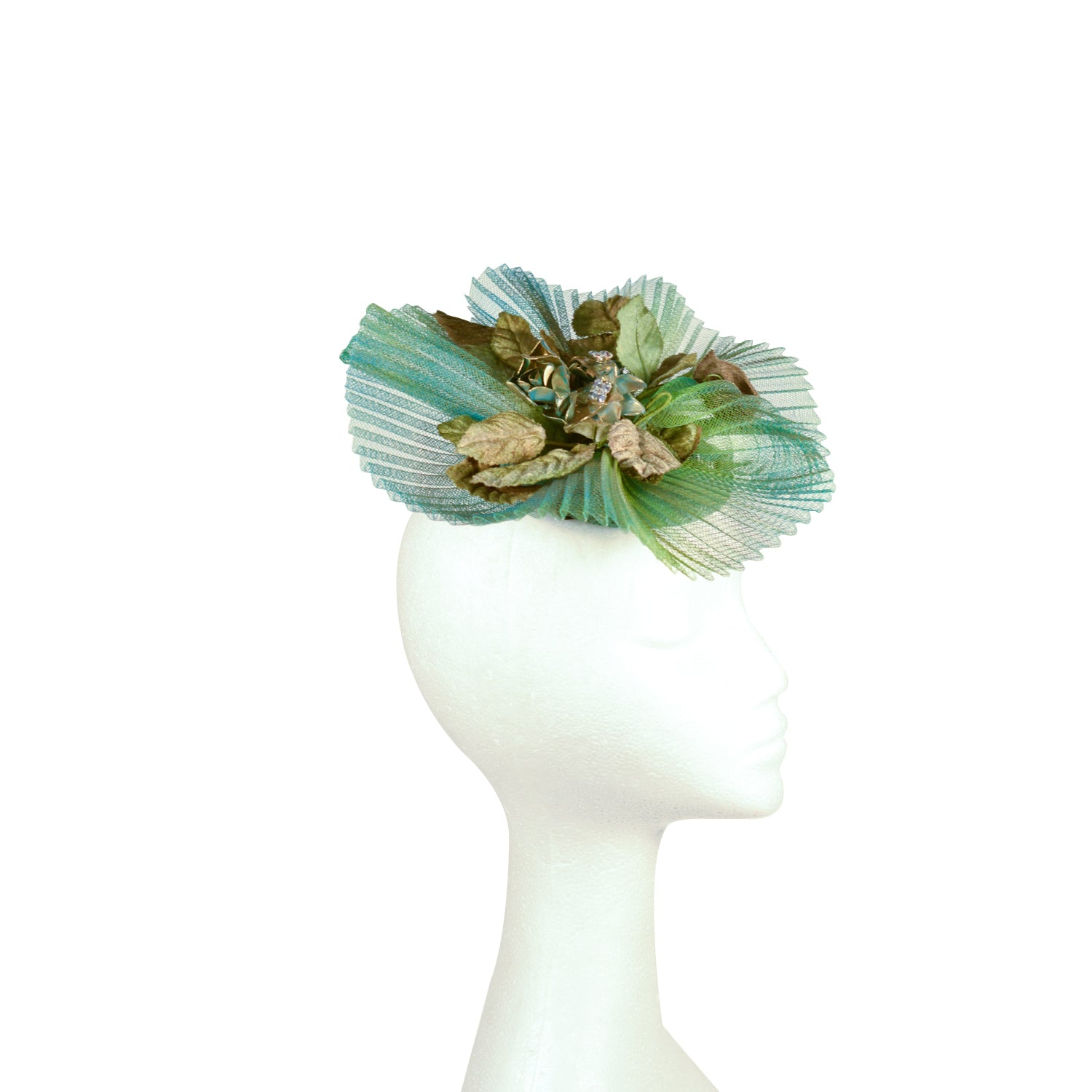 Green pleated crinoline and gold bespoke Julie Perlouze Paris fascinator