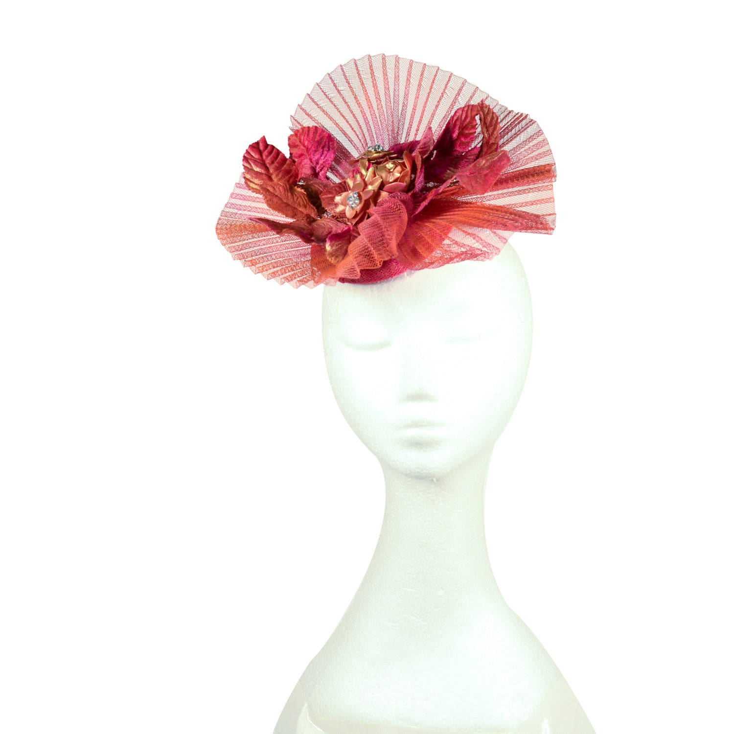Pink /red and gold bespoke Julie perlouze fascinator with pleated crinolin from Paris