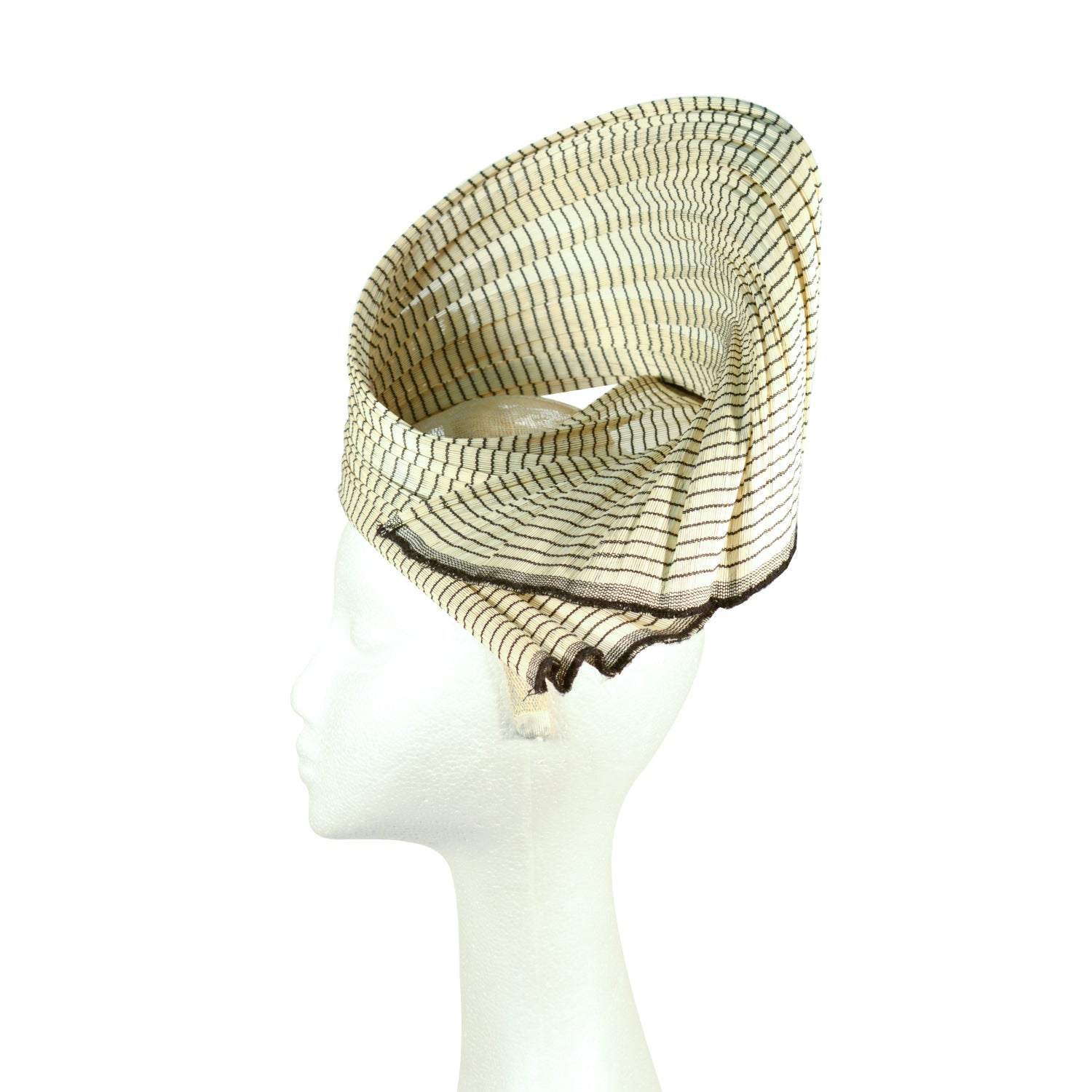 Cream and black abica straw fascinator
