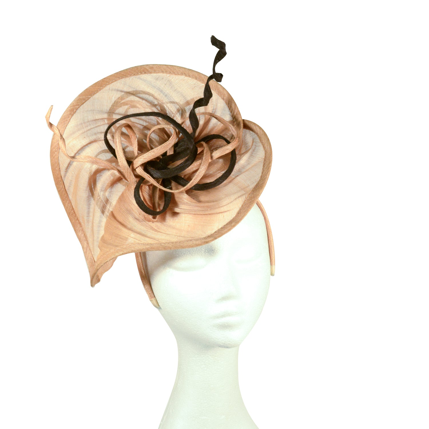 Brown taupe and black lilypond fascinator with ribbon twist