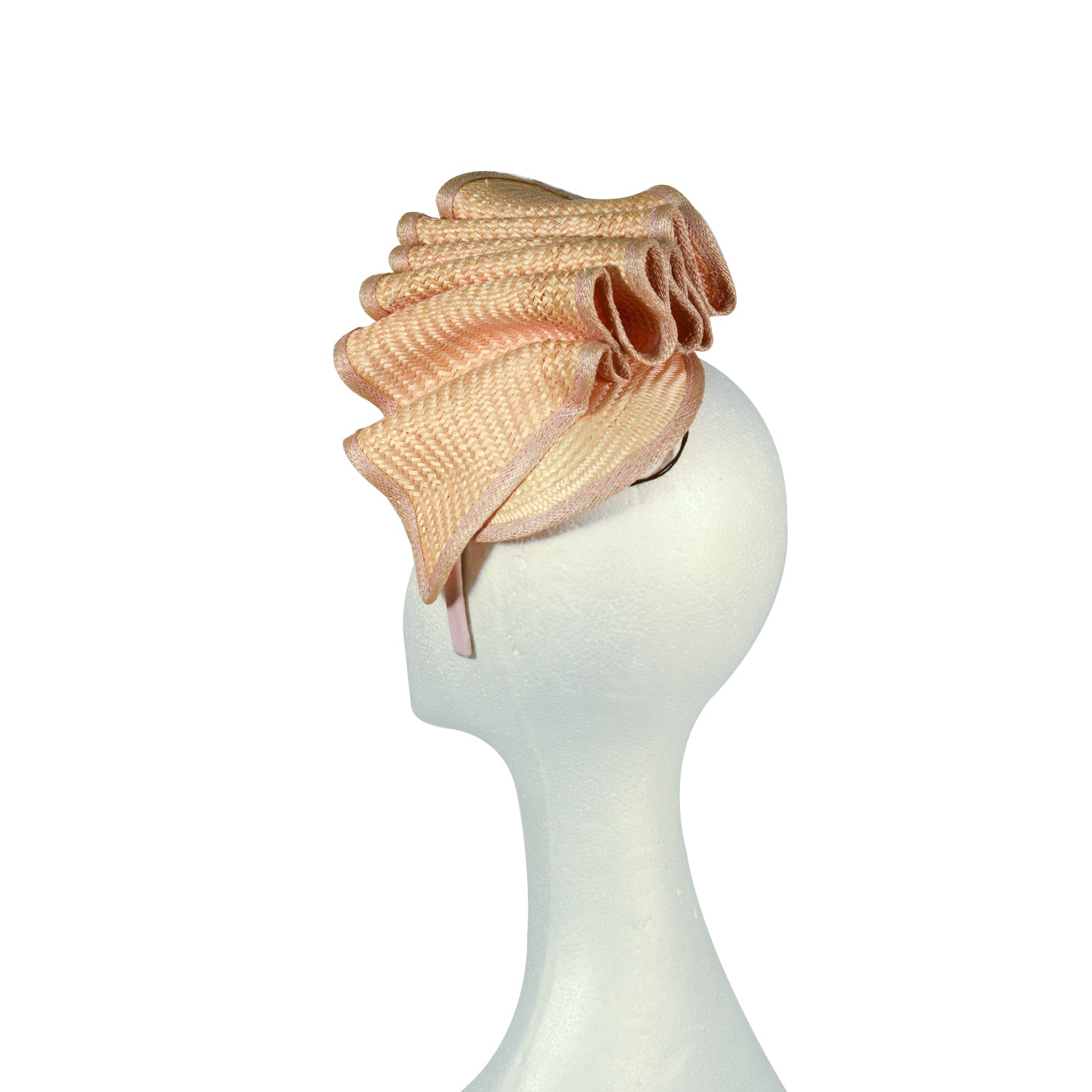 Orange Apricot pale fine straw ripple fascinator