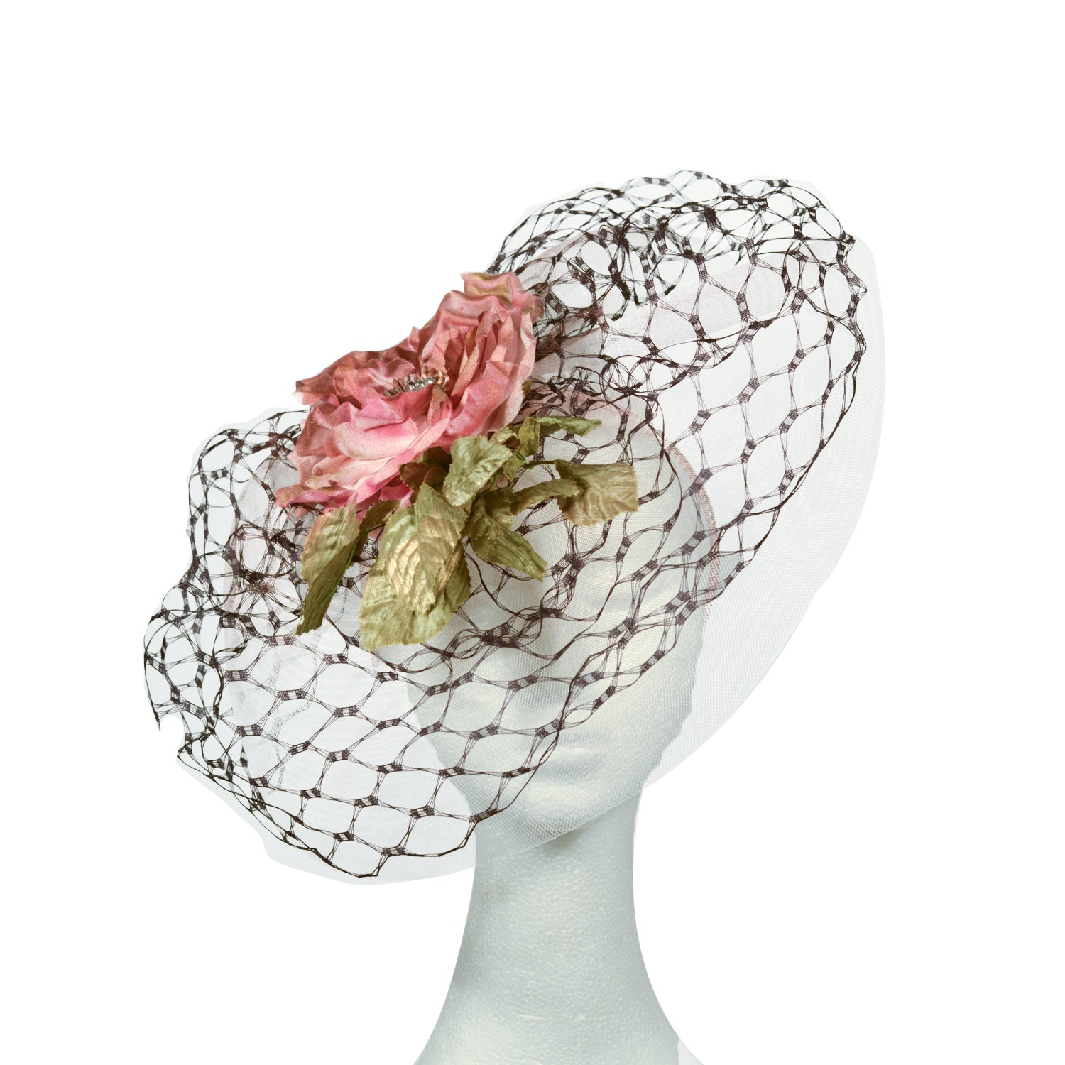 Pink and rusty brown with green leaves Julie Perlouze bespoke from Paris with black veiling