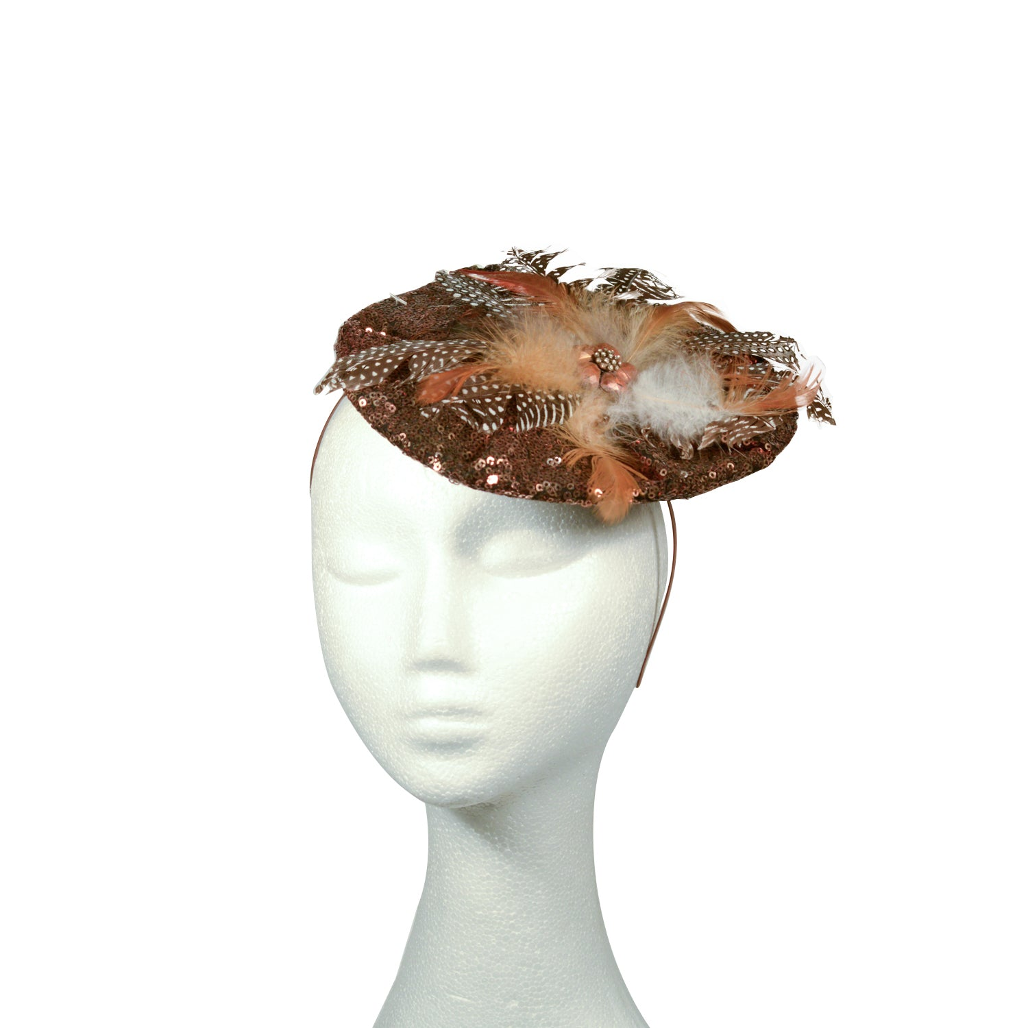 Brown sequinned disc with feathers and dimonte bespokeby julie Perlouze