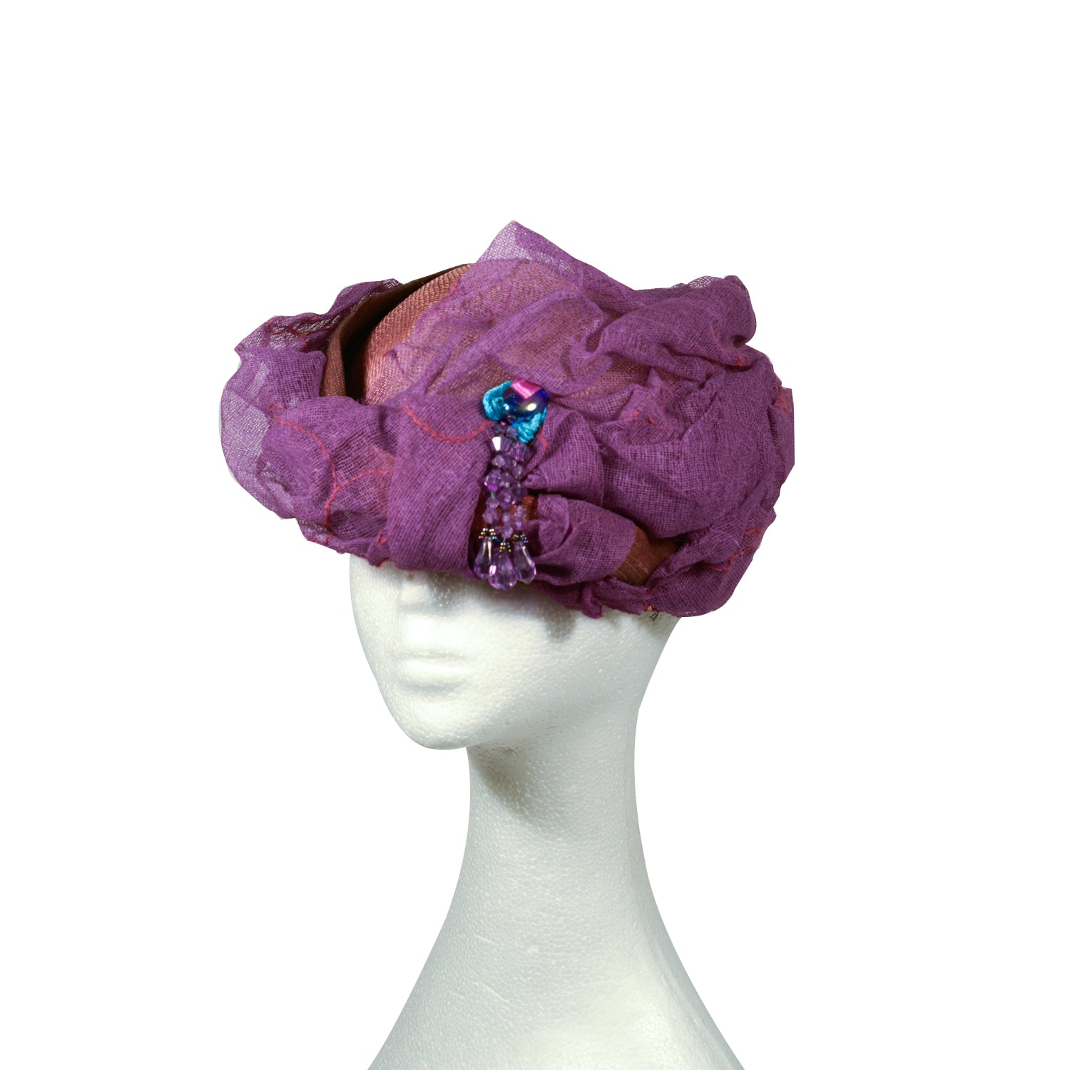 Purple straw and fabric Elsa Gary from Paris turban