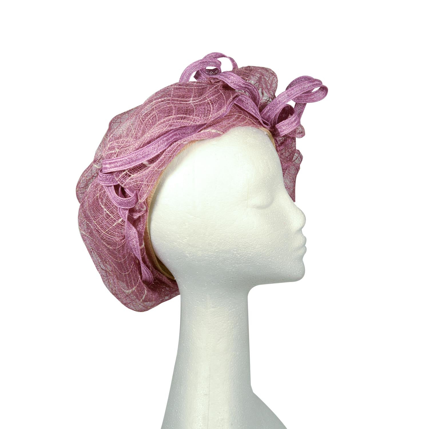 Purple and cream Elsa gary bespoke Paris straw turban