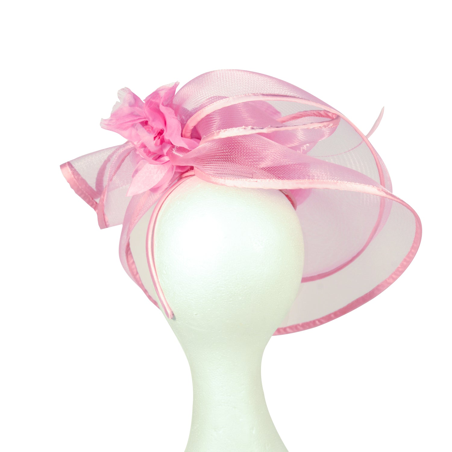 Pink crinoline with silk flower fascinator
