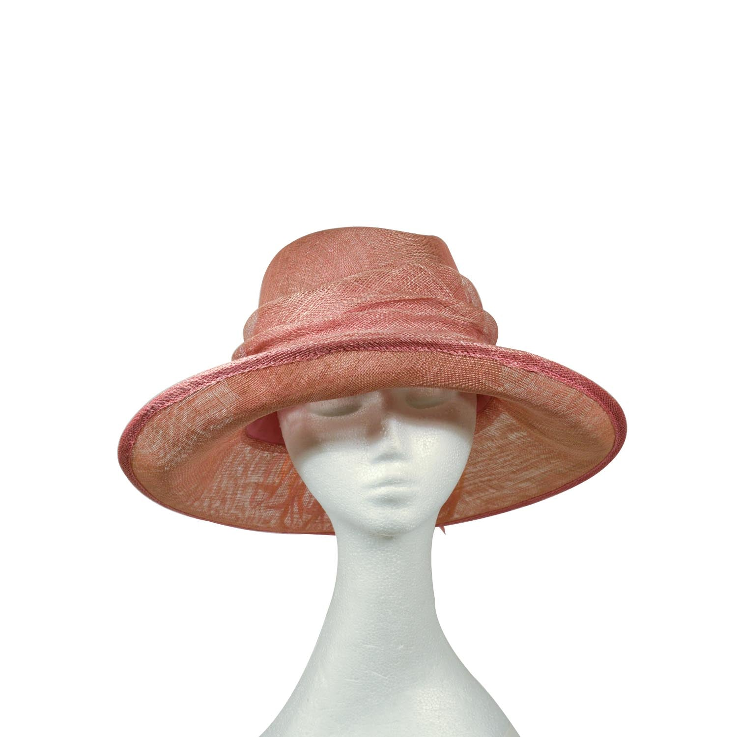 Pink Pale straw hat with orange and pink feathers