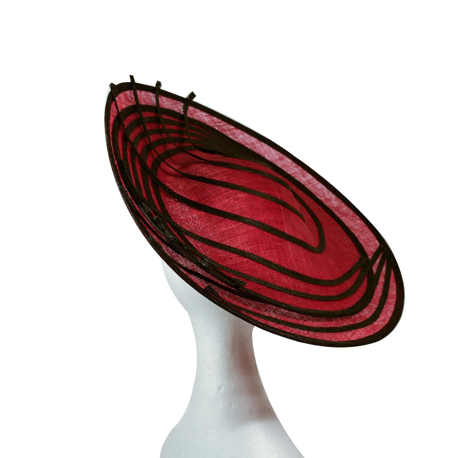 Red Large straw disc hatinator with black straw trim