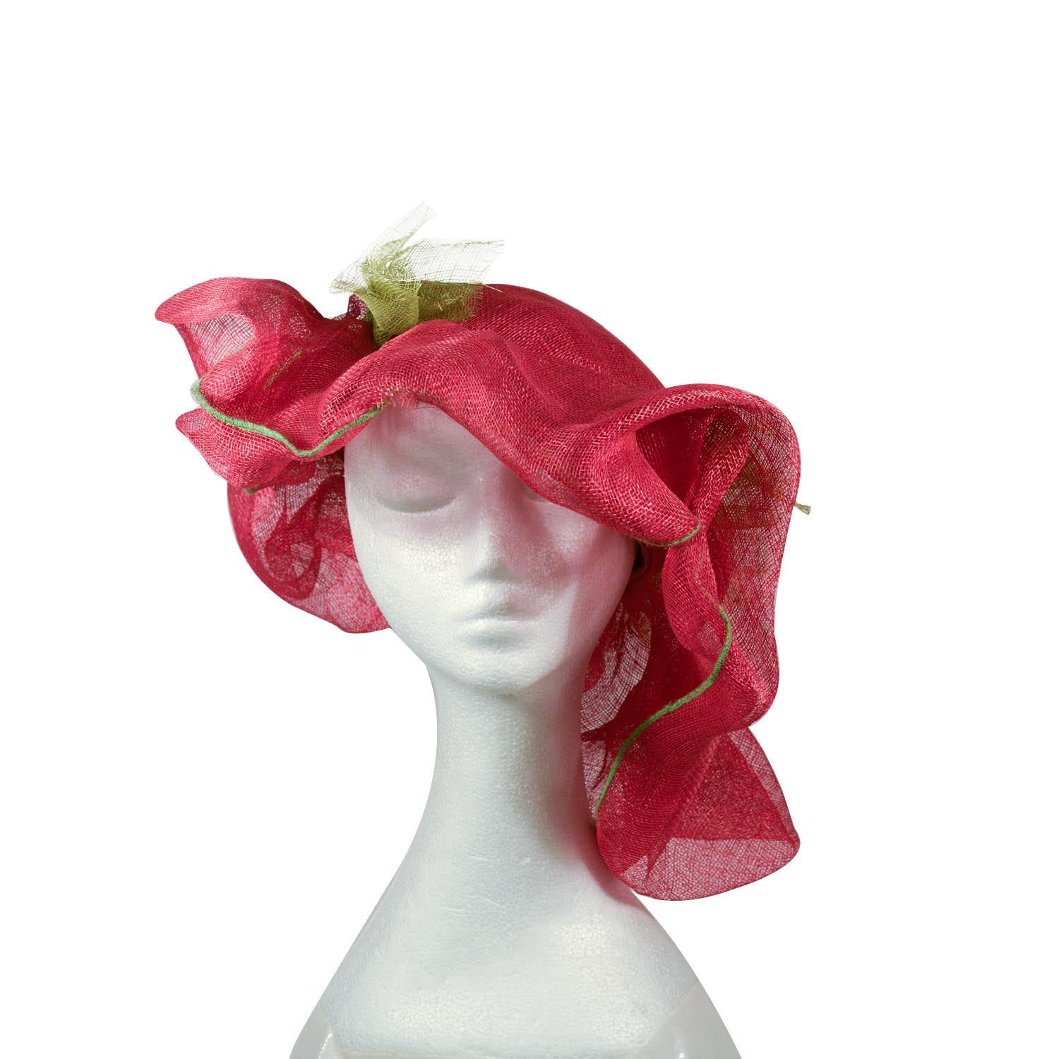 Red and green Elsa Gary paris bespoke hat from Paris