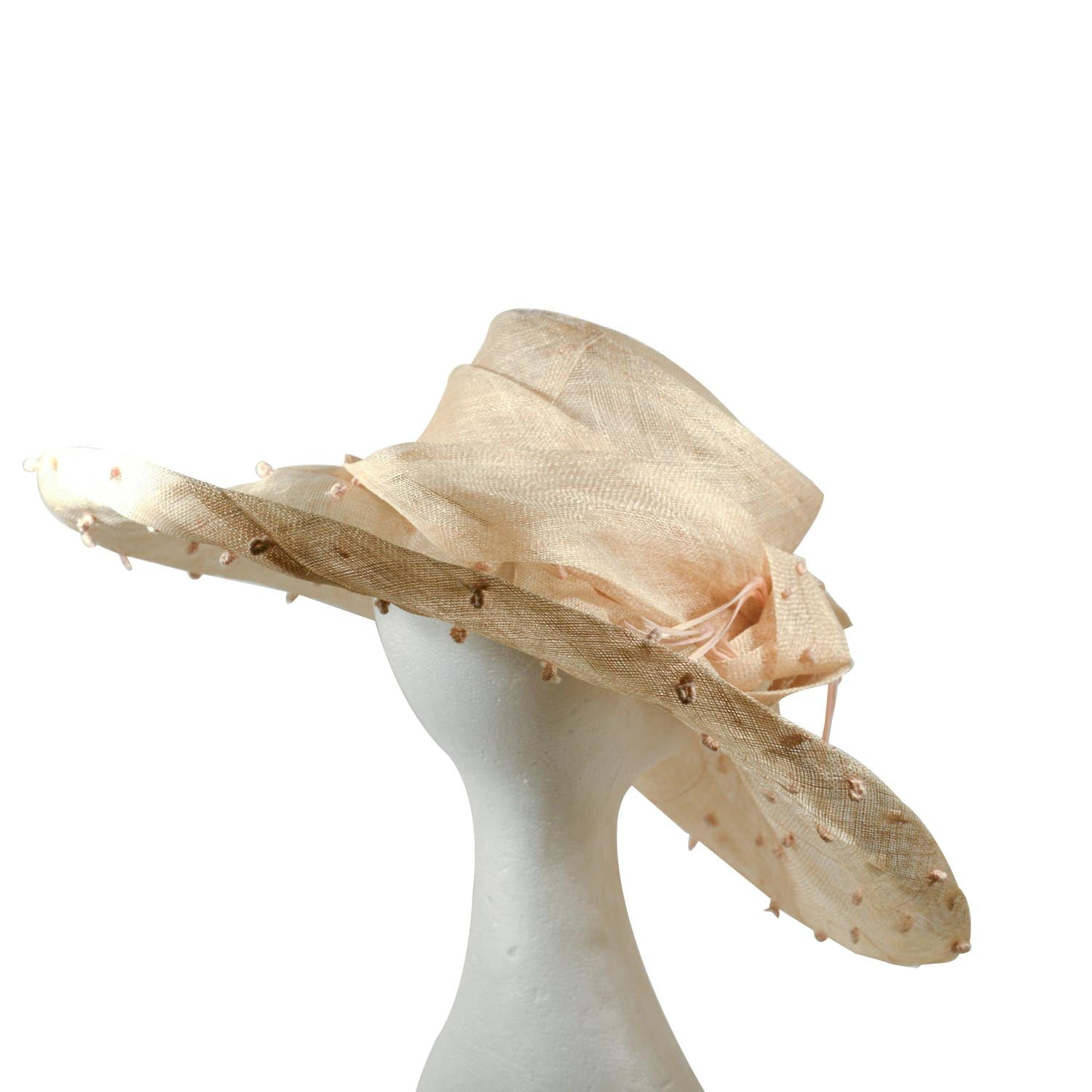 Cream taupe sinamay large brim with detail knotting on brim