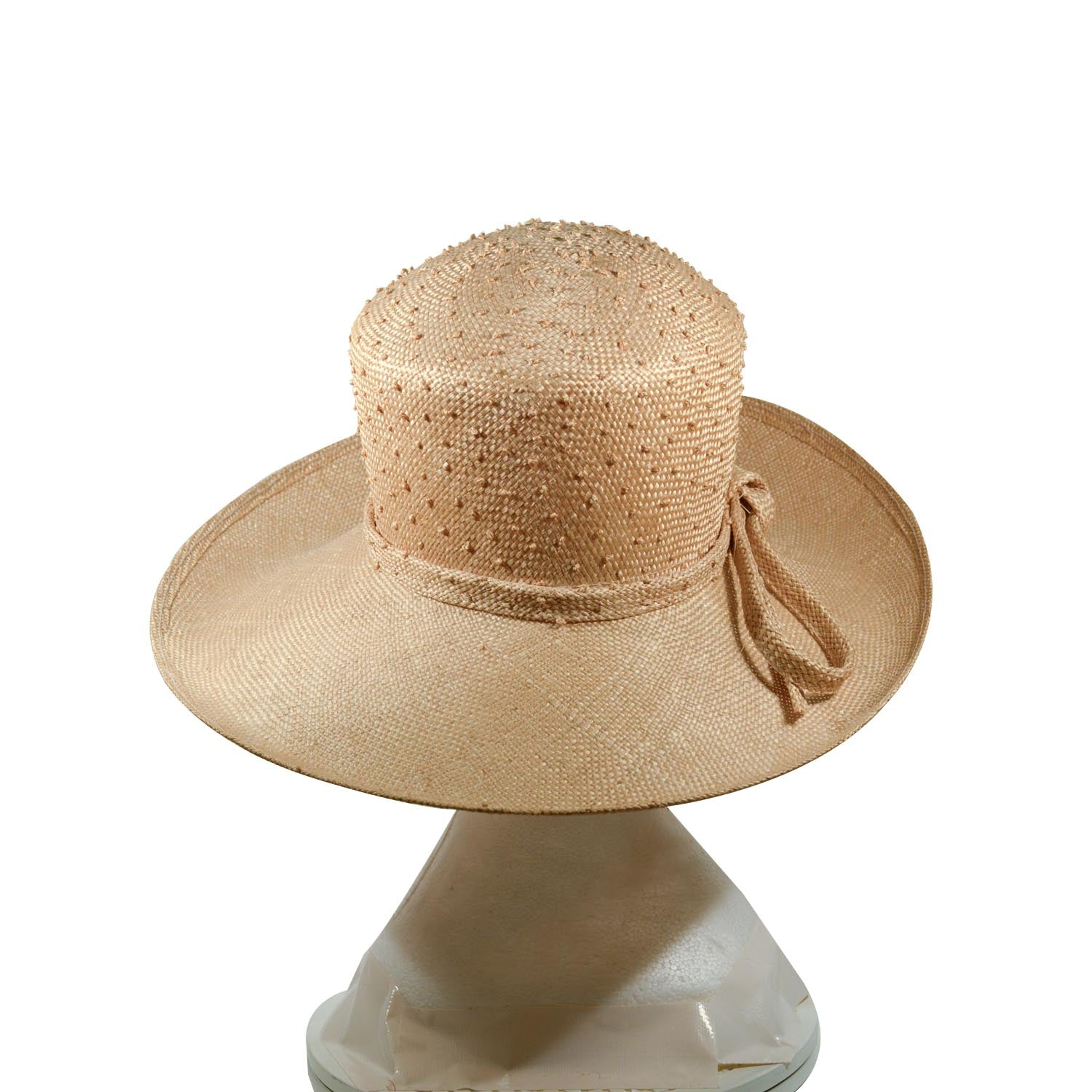 Cream English beautiful straw hat high crown knotted and straw bow trim