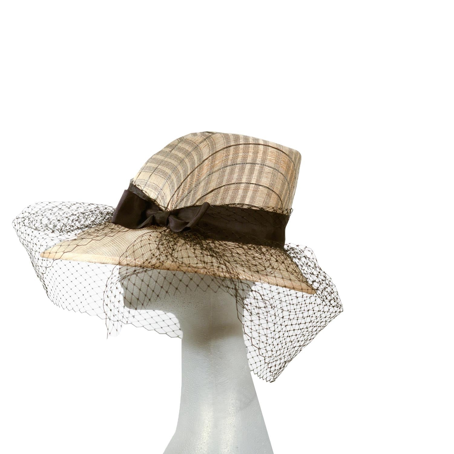 Cream taupe straw dick Tracy hat with black trim and veiling
