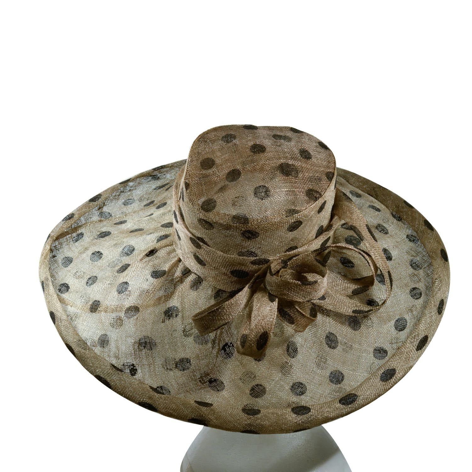 Green Khaki with black dots sinamay hat