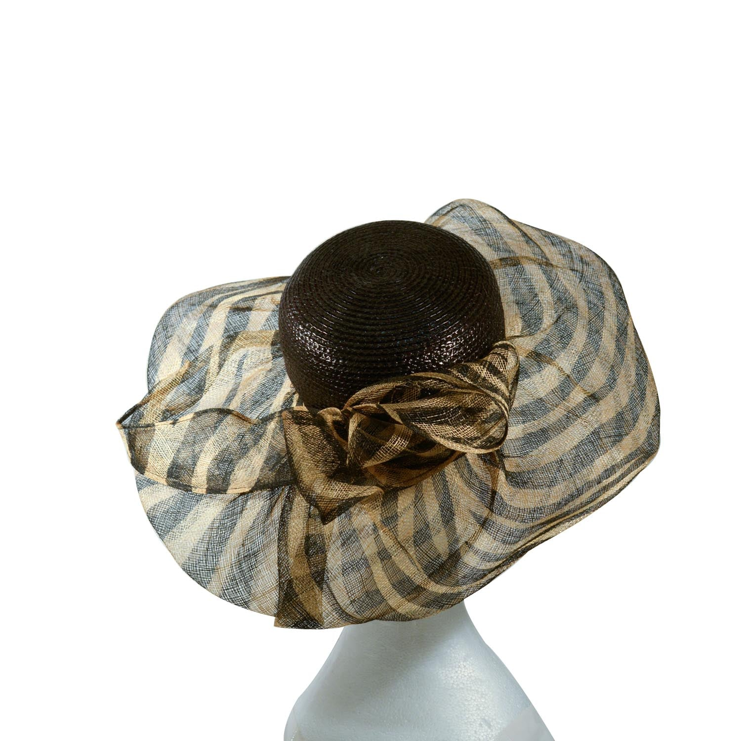 Black Italian shiny straw crown with brown and black stripe fine straw brim