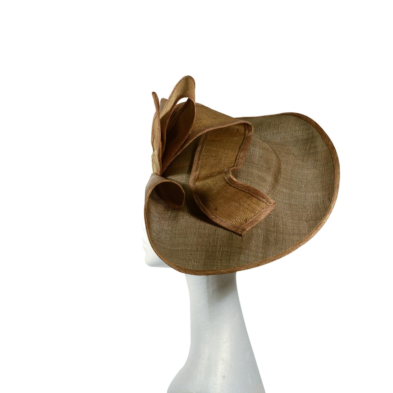 Green Olive fascinator straw with same fabric trim can be worn both ways