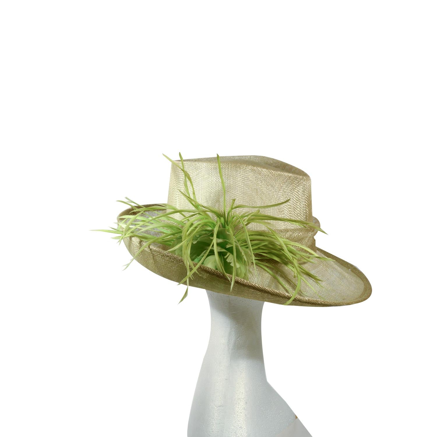 Green lime dick Tracy straw hat with feather trim