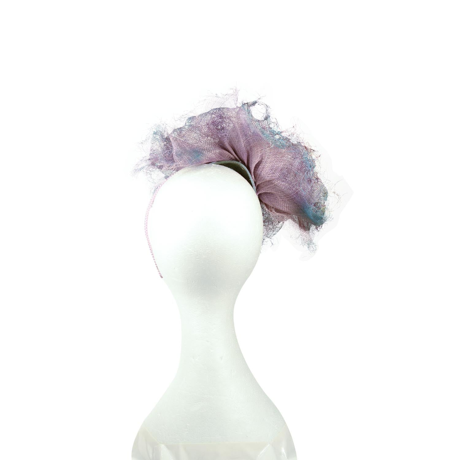 Blue-Lilac Julie perlouze paris ball and flower trim distressed straw faccinator