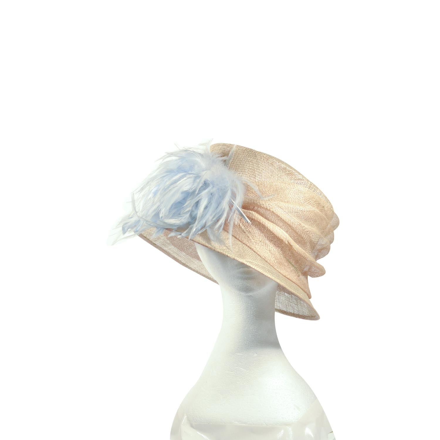 Cream straw hat with pale blue feathers
