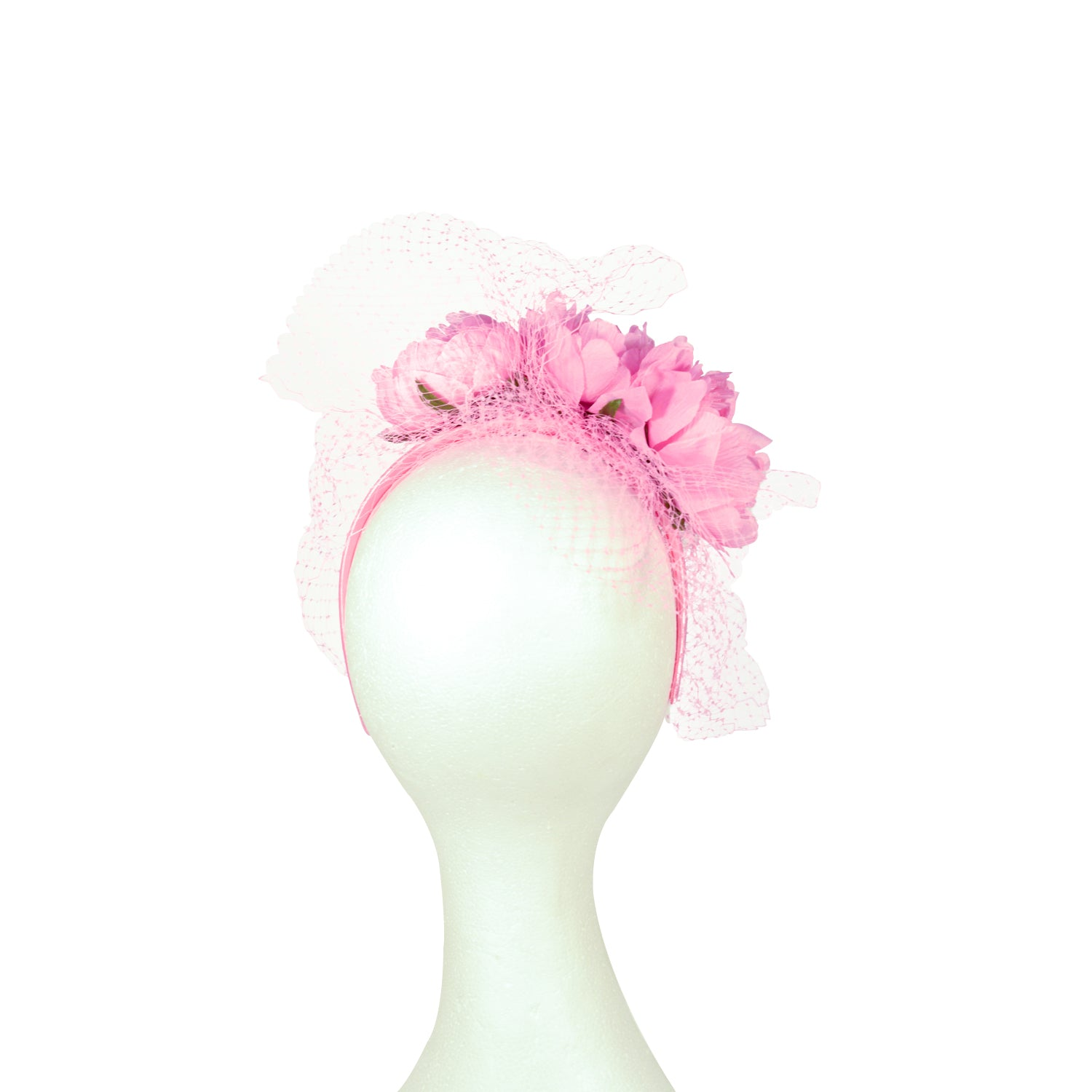 Pink silk flowers with veiling