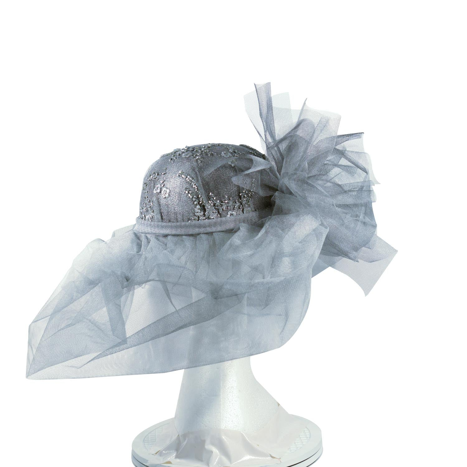 Grey bespoke Julie Perlouze light grey net with crystal embroidered crown from Paris