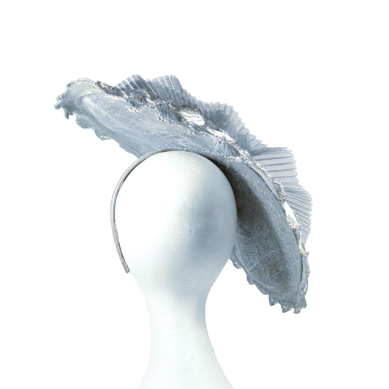 Grey Silver platted bespoke Julie Perlouze from Paris straw with pleated crinolin and fabric flower