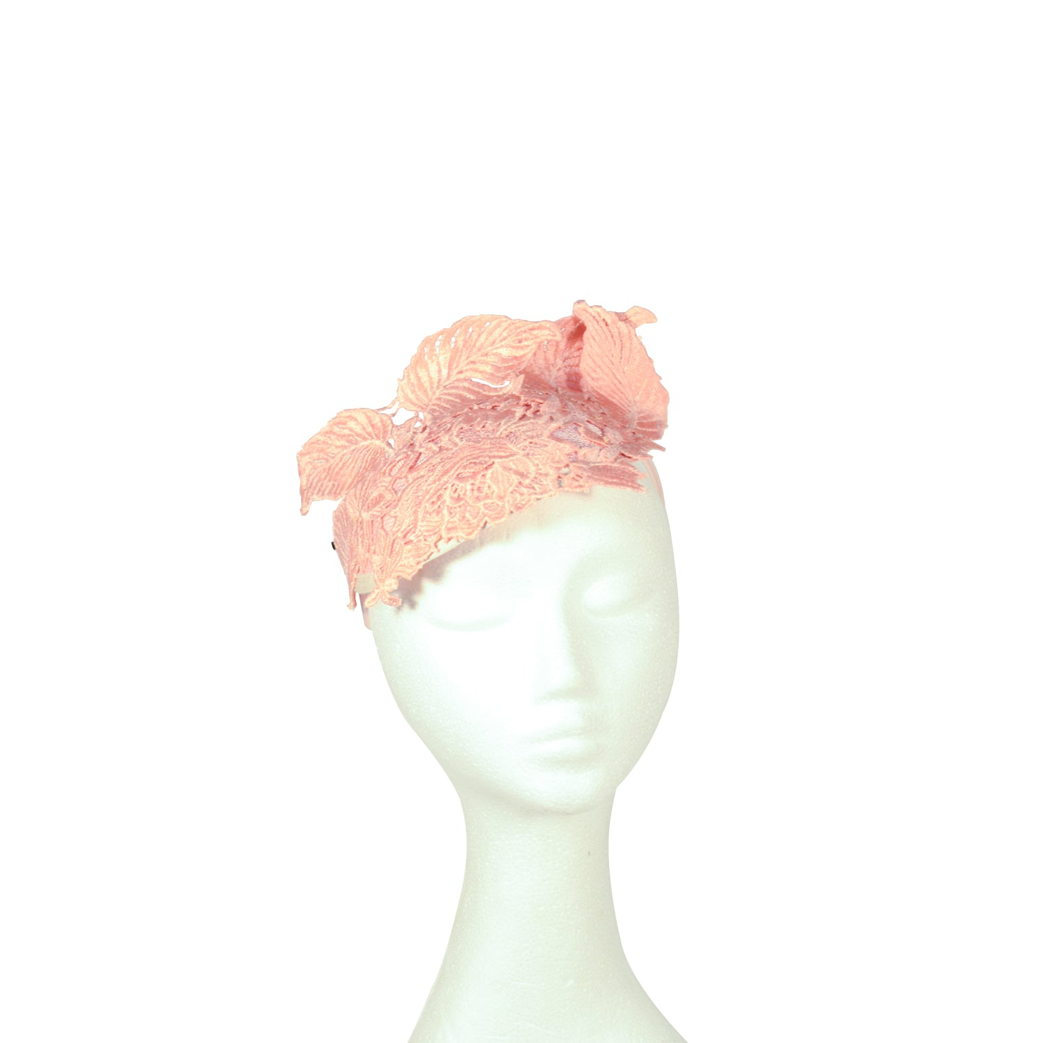 Pink structured lace fascinator