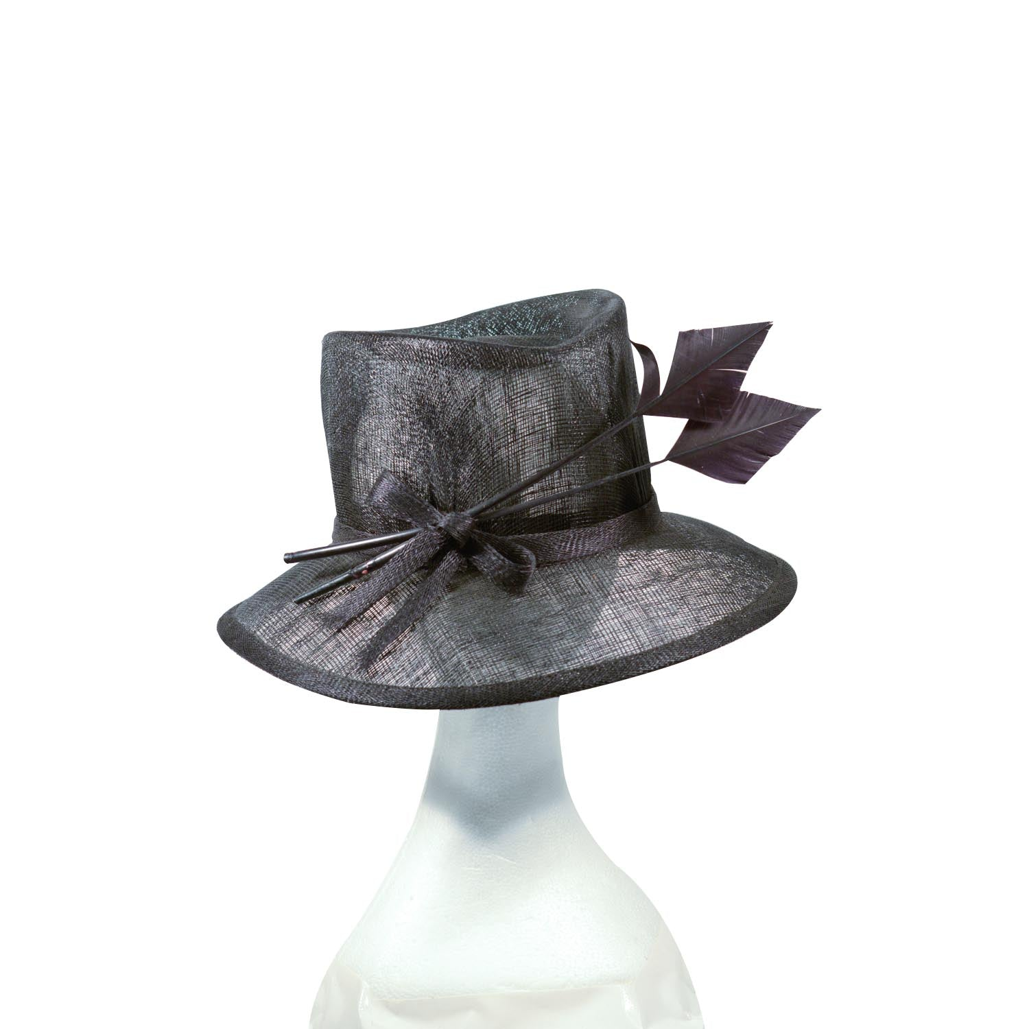 Black Fine straw hat and tall crown with feather