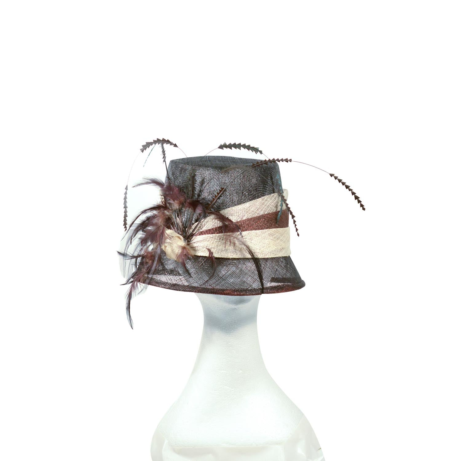 Black and cream straw hat with black feathers