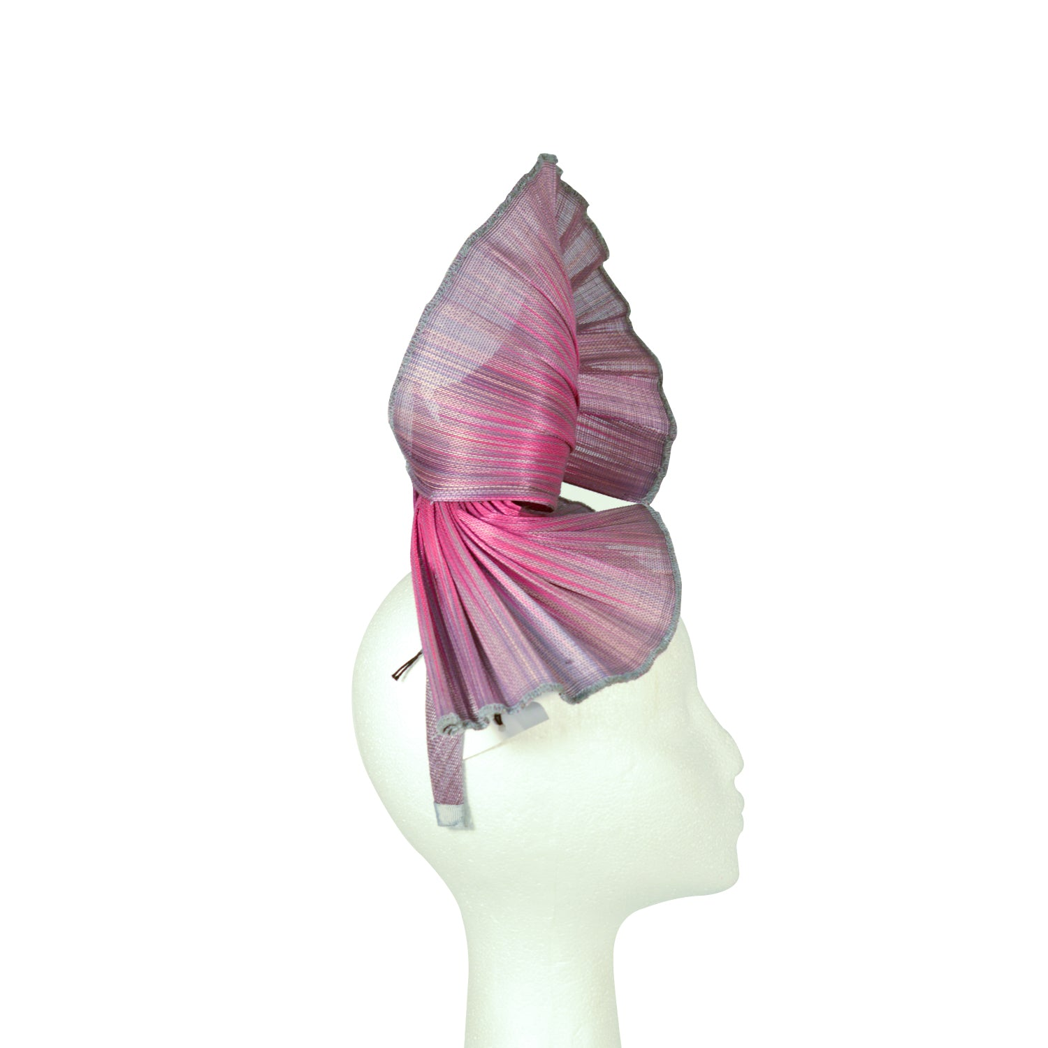 Grey and hot pink abacus straw fan knot style fascinator