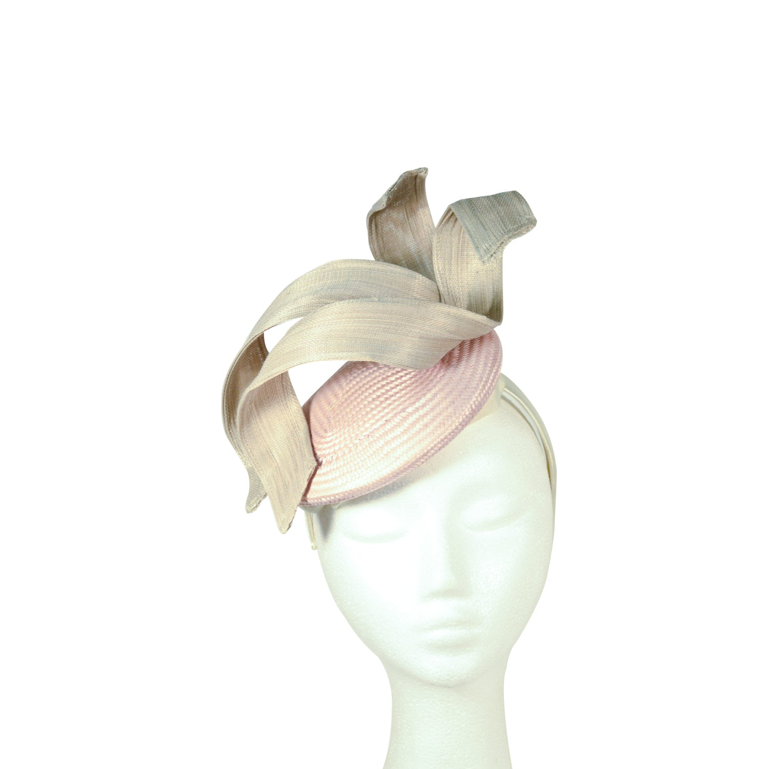 Pink/Pale with grey swirls fascinator
