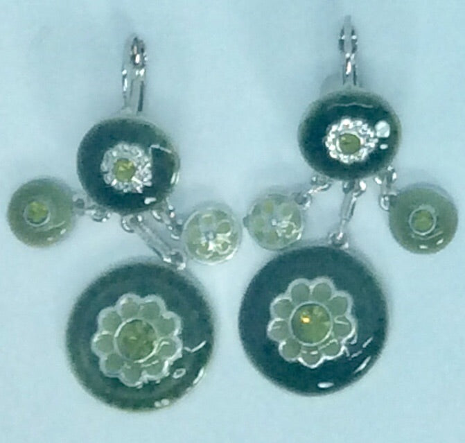 Green multi drop enamel earrings