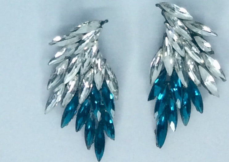 Stunning turquoise crystal evening leaf earrings