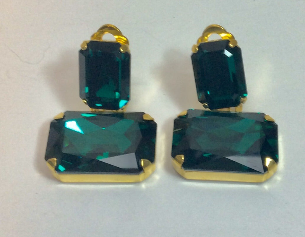 Emerald green crystal drop clip on earrings