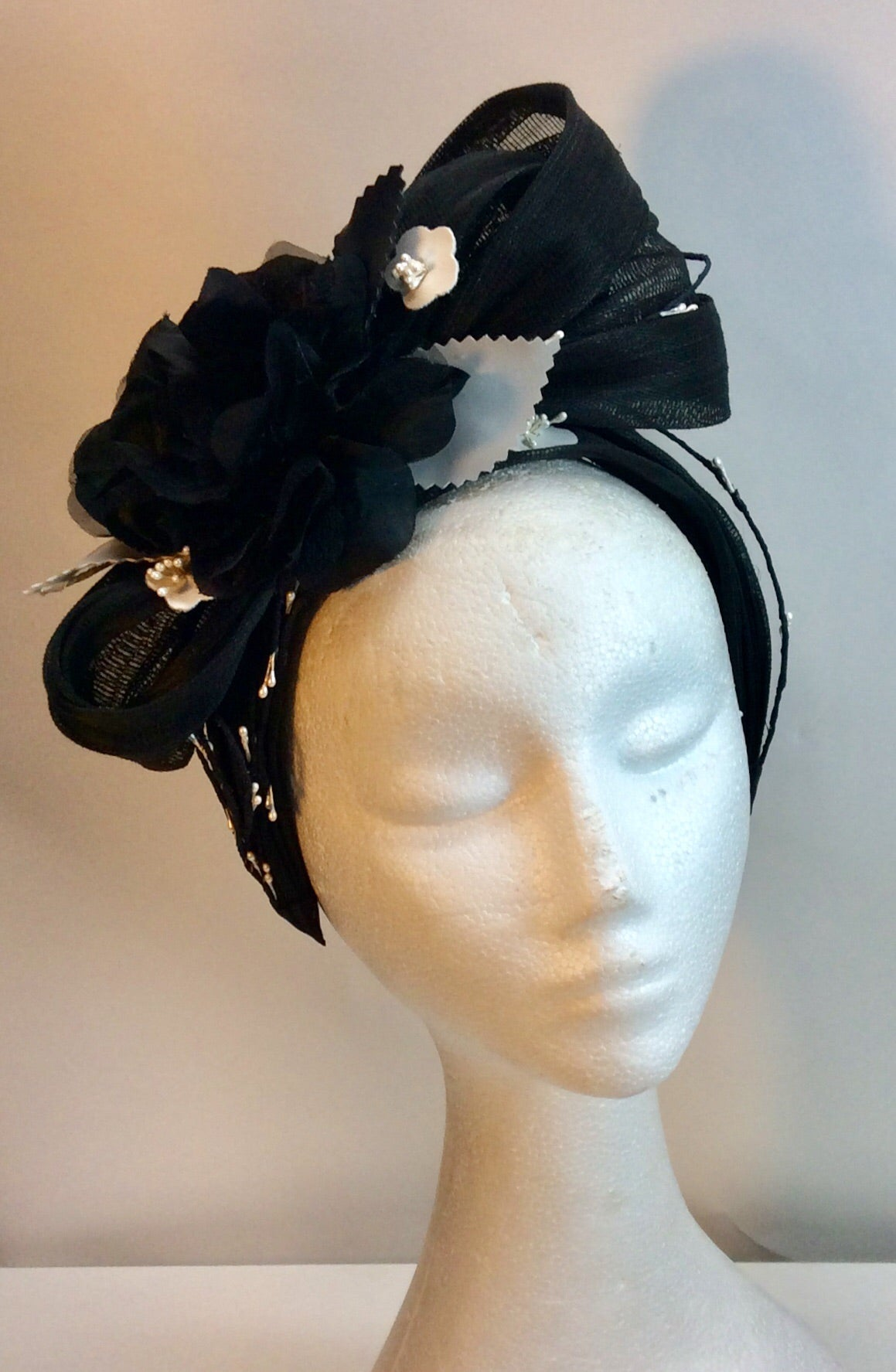 Black white and grey fascinator