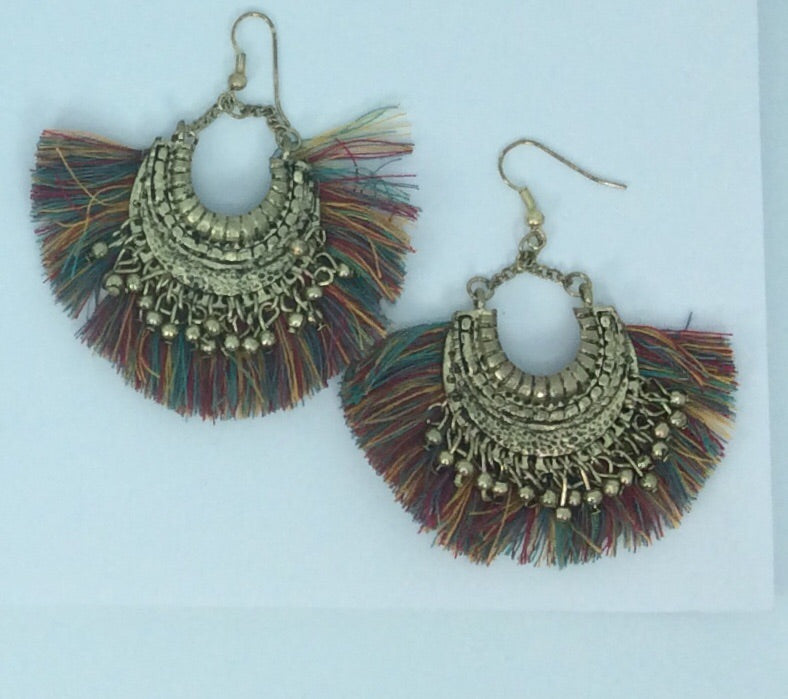 Funky tassel and gold plated earrings