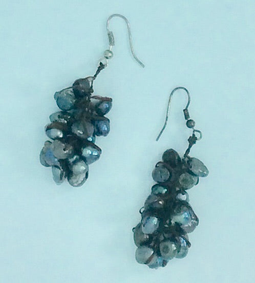 Charcoal real pearl earrings