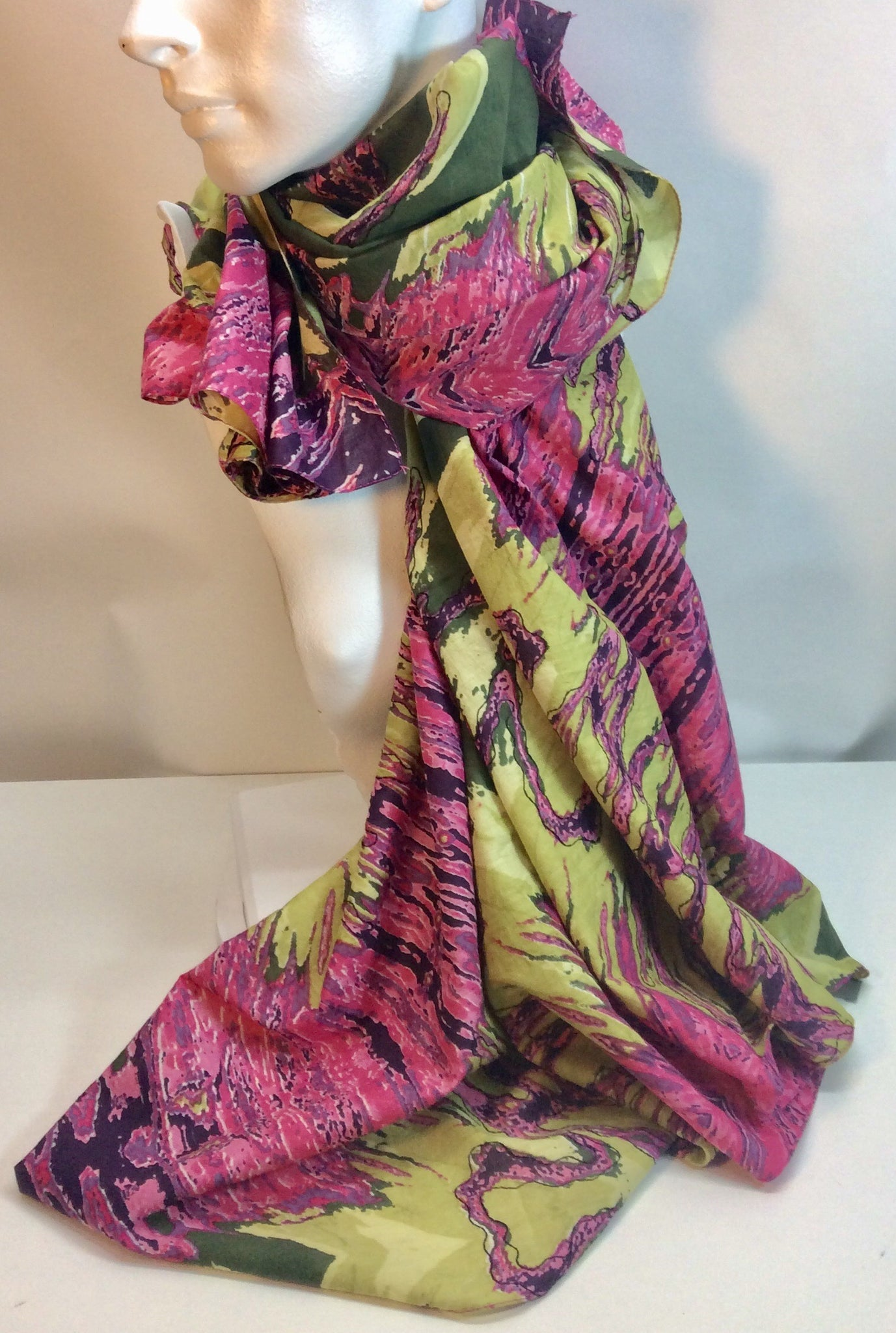 Pink and green patterned cotton scarf