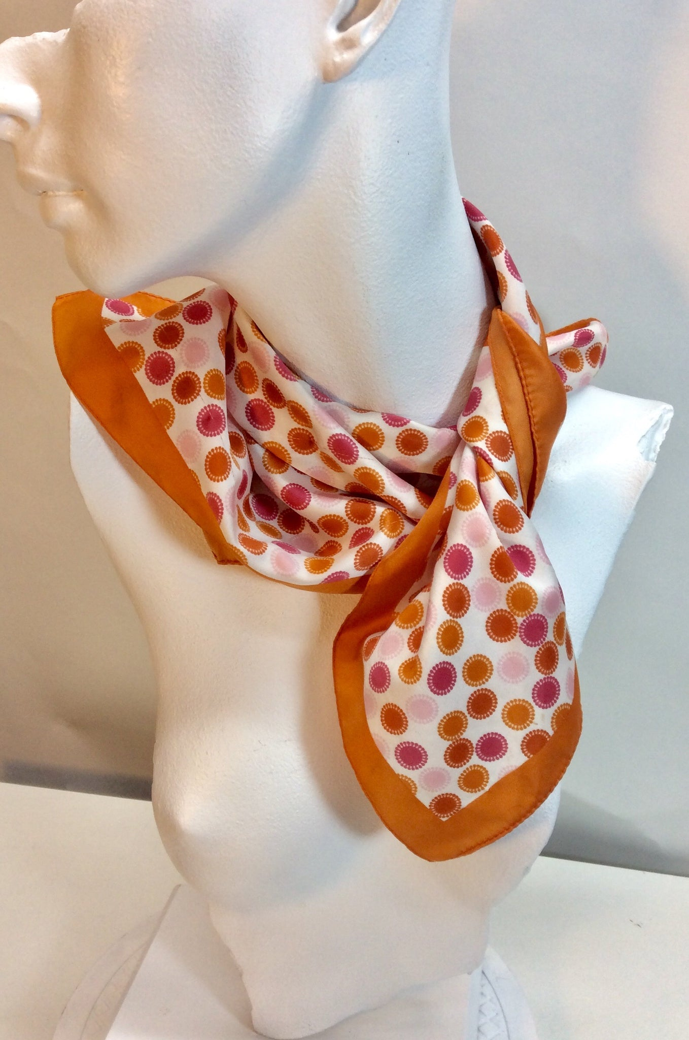 Burnt orange and pink small silk square scarf