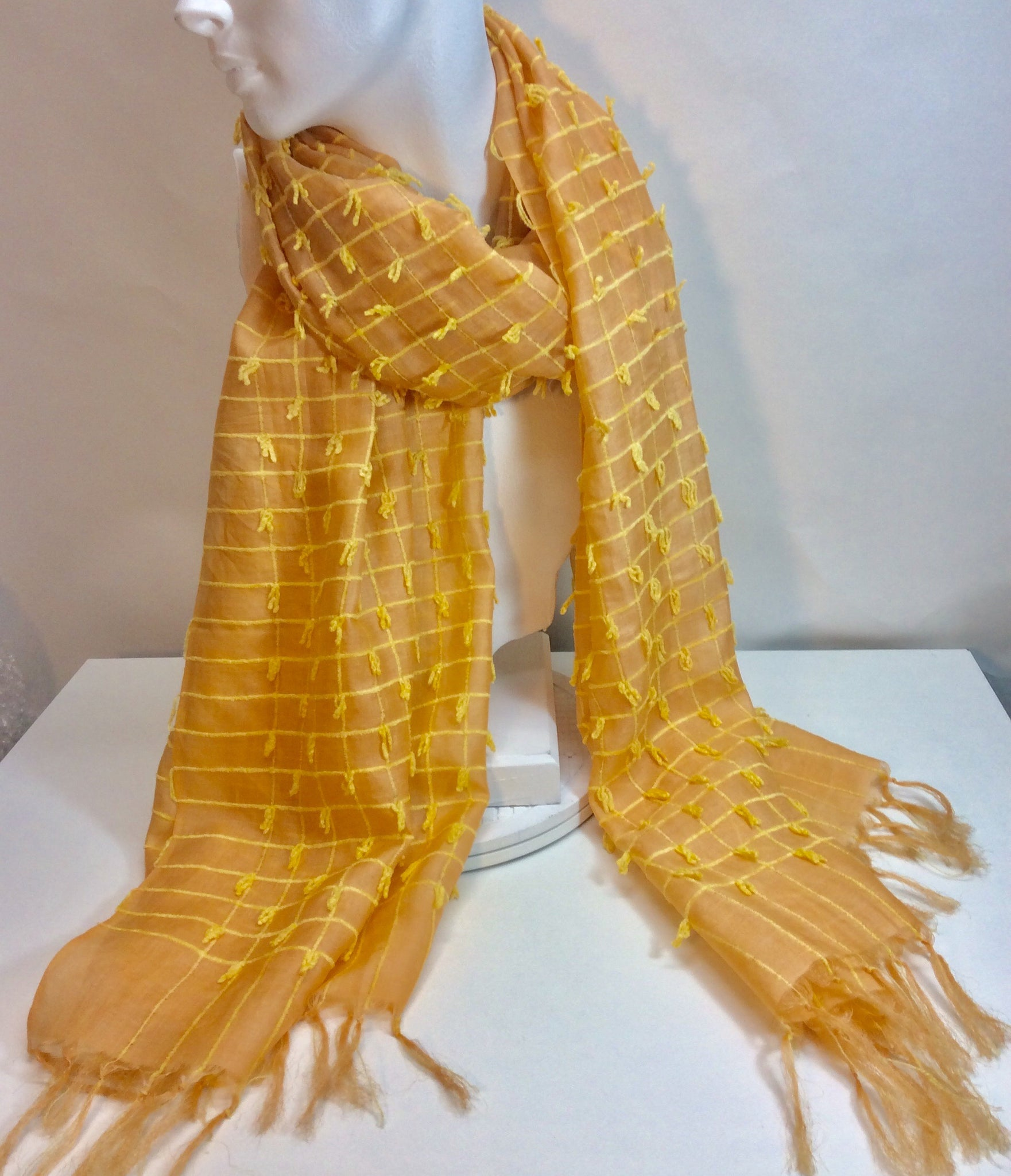 Gorgeous gold silk scarf with yellow stitched design