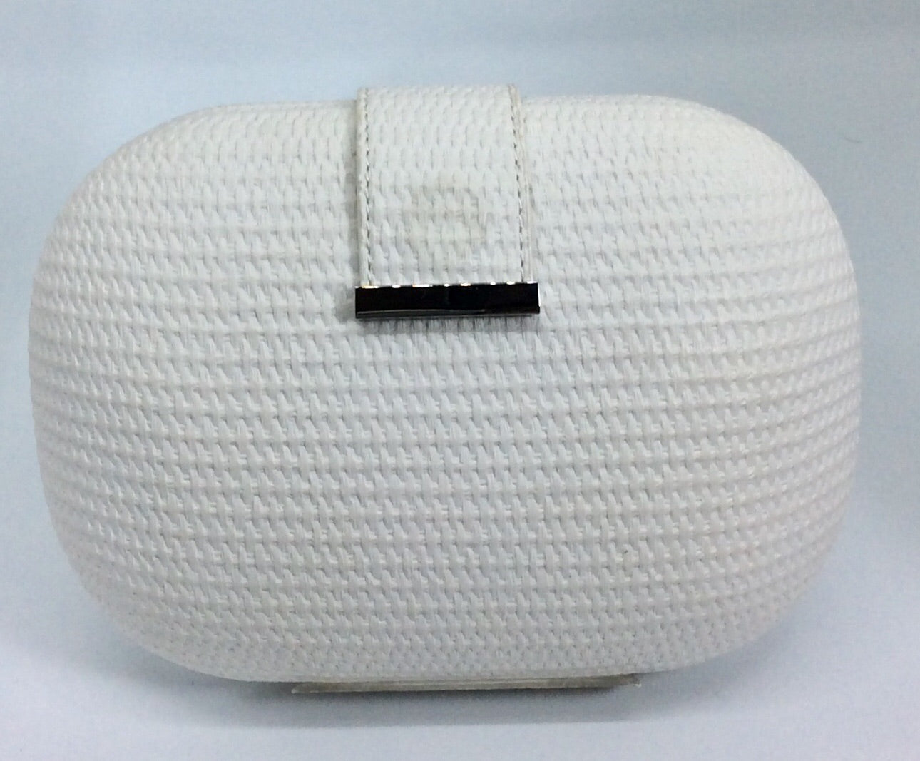 Embossed white clutch bag with silver chain magnetic clasp