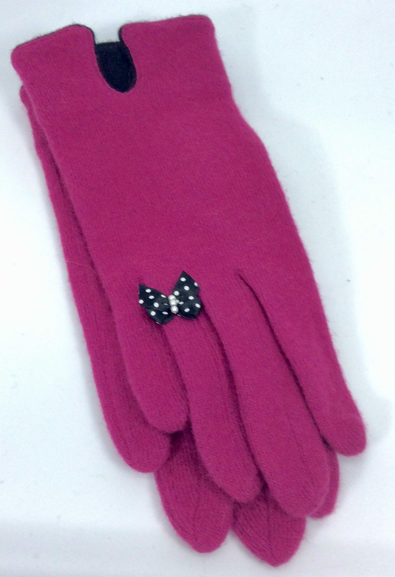 Fushia  woollen gloves with bow detail