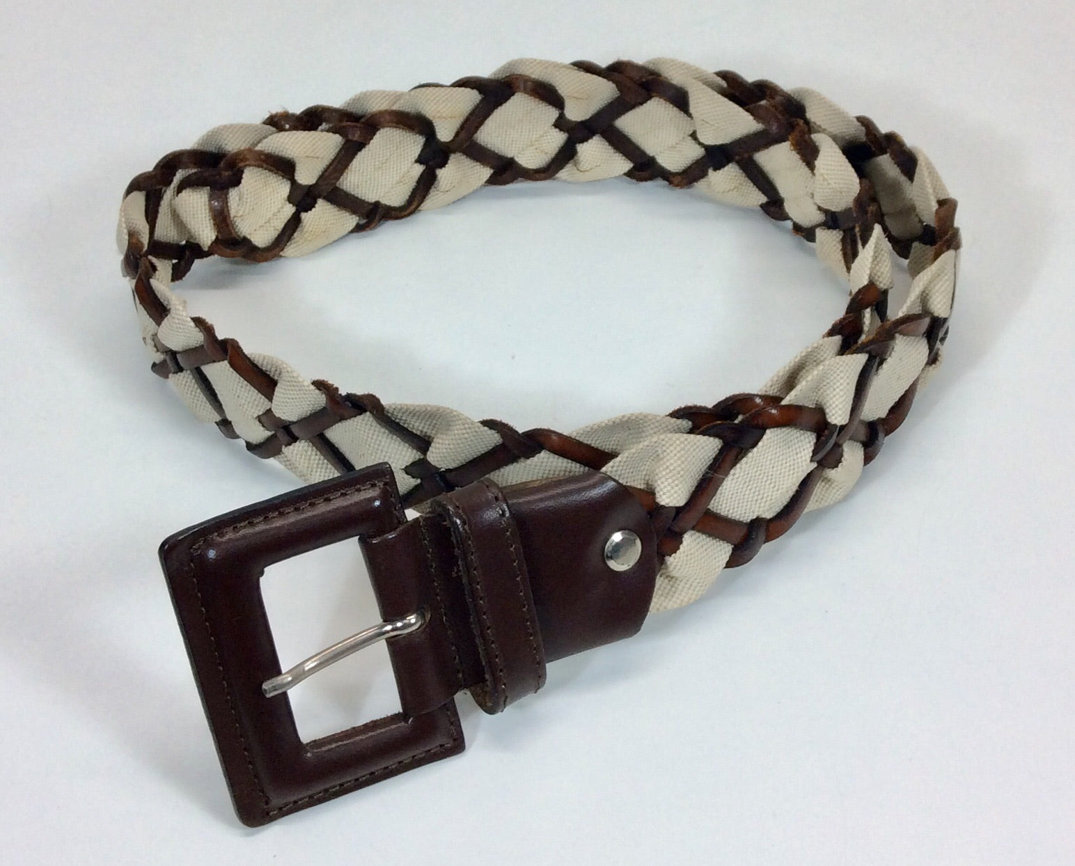 Brown and cream plaited leather and fabric belt