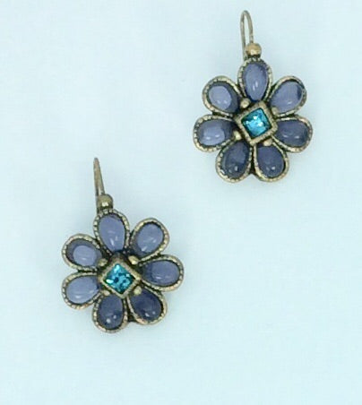 French Purple flower with green stone centre in gold setting hook earrings