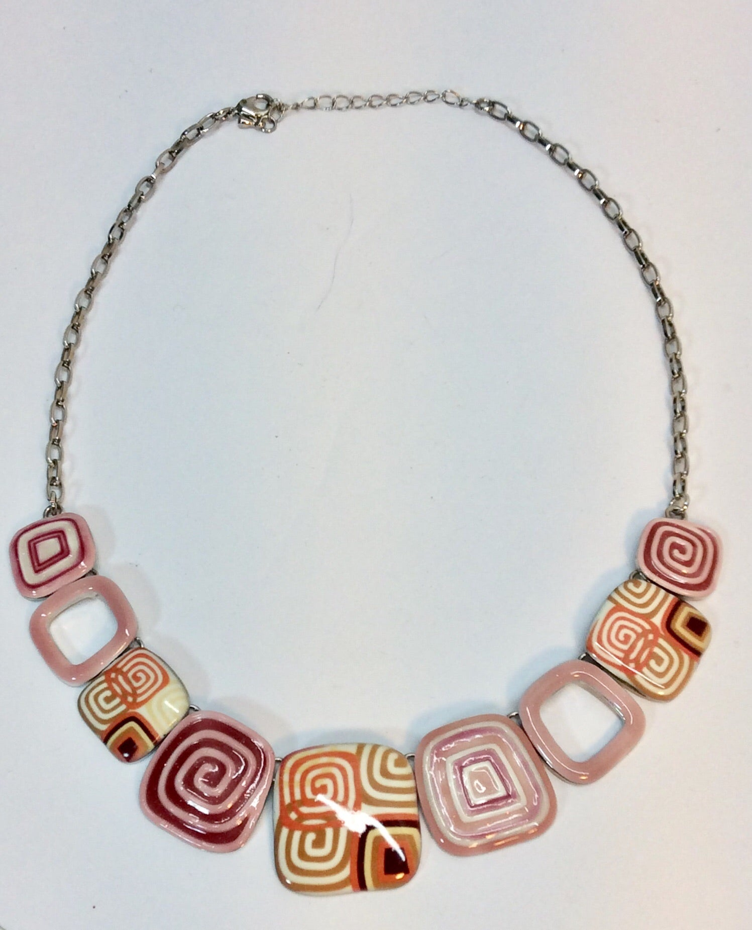 French design enamelled pieces on silver chain necklace