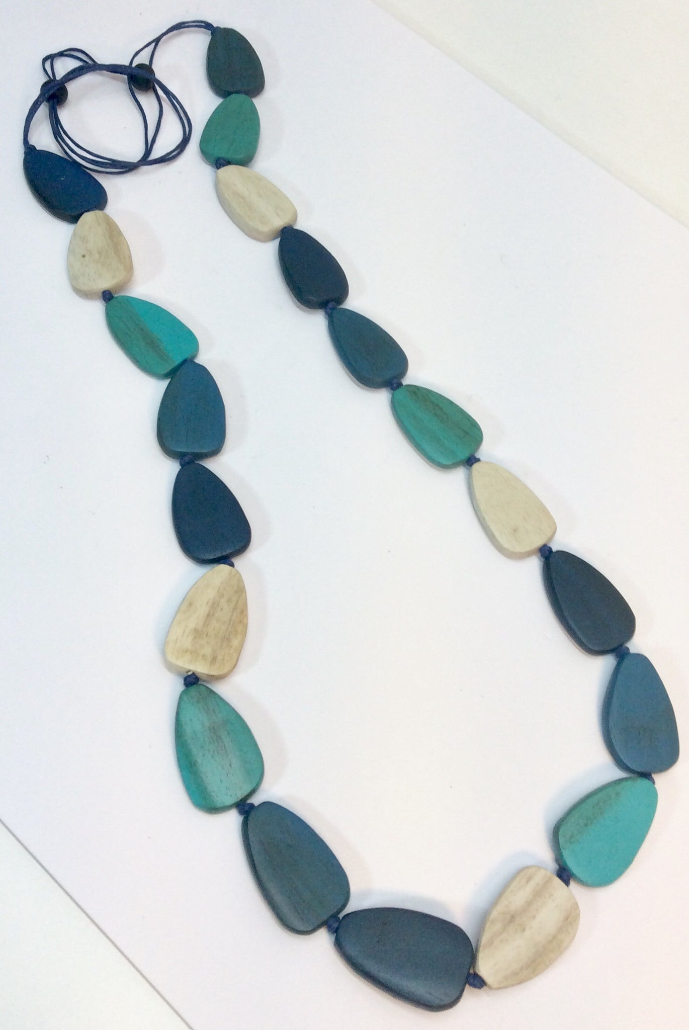 Sea coloured wooden bead necklace