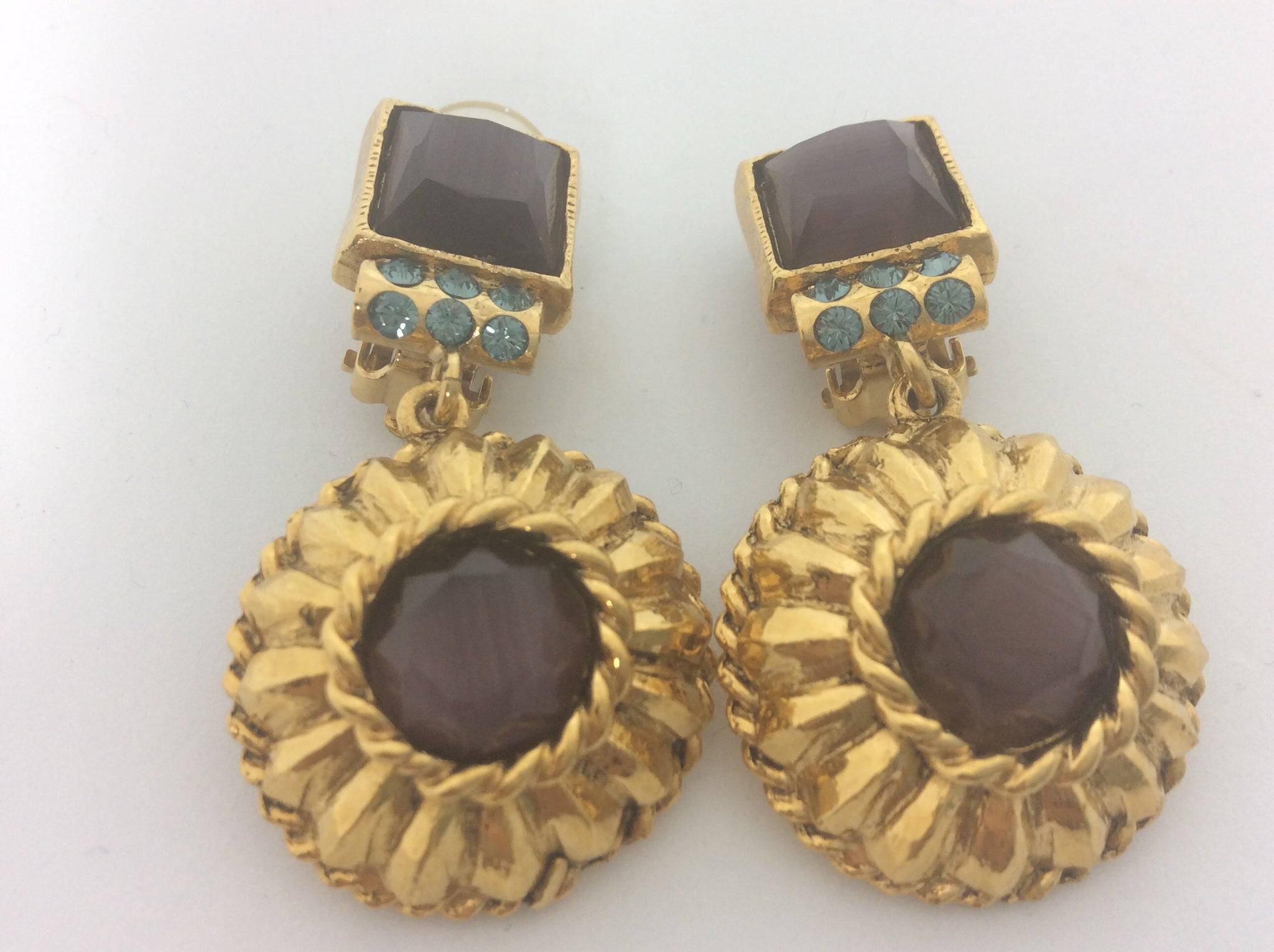 French purple stone gold plated clip on earrings