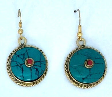 Nepalese Turquoise with Mountain Coral centre  gold drop earrings