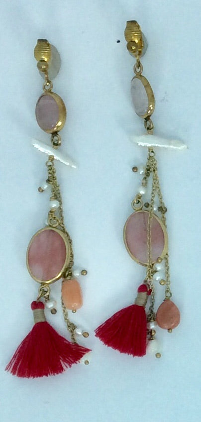 semi Precious rose quartze and pearl tasseled gold clip on earrings