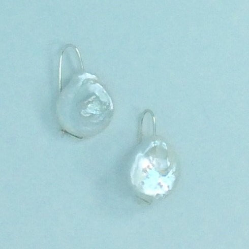 Australian Design Large natural flat pearl on silver hook earrings