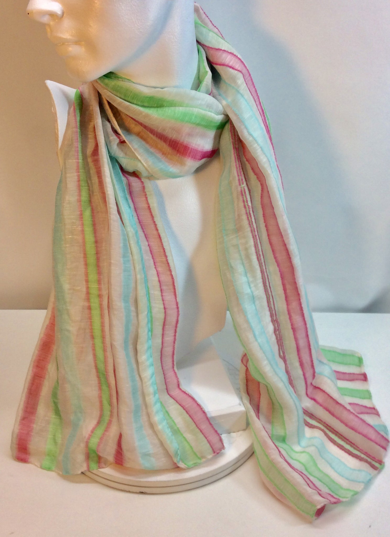 Candy striped raw silk scarf